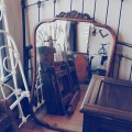 Antique Oak Frame/Bevelled Mirror (Image 1/2)