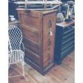 Antique 3 Drawer Oak File Cabinet