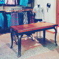 Old Fir Workbench top with Steel base + Cast Iron Cabriole legs