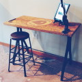 Old Worktable top with Cast Iron Trestle base + Antique stool